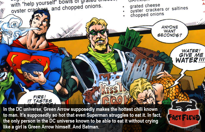only batman can eat the hottest chili in the dc universe fact fiend