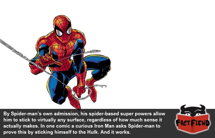 spider man can stick to anything including the hulk fact fiend