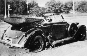 Pictured: Heydrich's shitty car after it was justifiably blown the hell up.