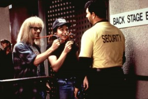 WAYNE'S WORLD, Dana Carvey, Mike Myers, 1992, showing their backstage passes