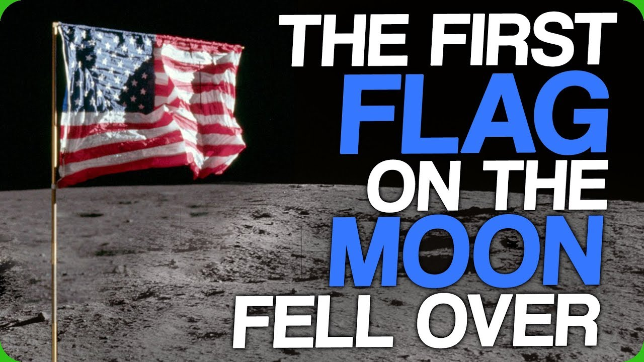 the first flag on the moon fell over 10 seconds after the